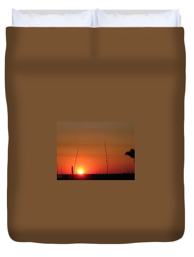 Sunset Duvet Cover featuring the photograph Sarasota Sunset by Mickey Krause