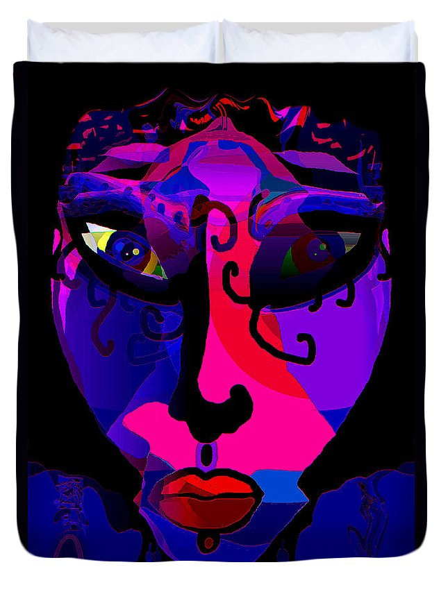 Face Duvet Cover featuring the mixed media Sarina by Natalie Holland
