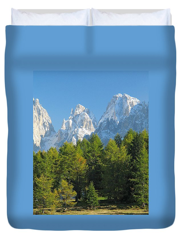 Sasso Lungo Duvet Cover featuring the photograph Sasso Lungo Group In The Dolomites Of Italy by Greg Matchick