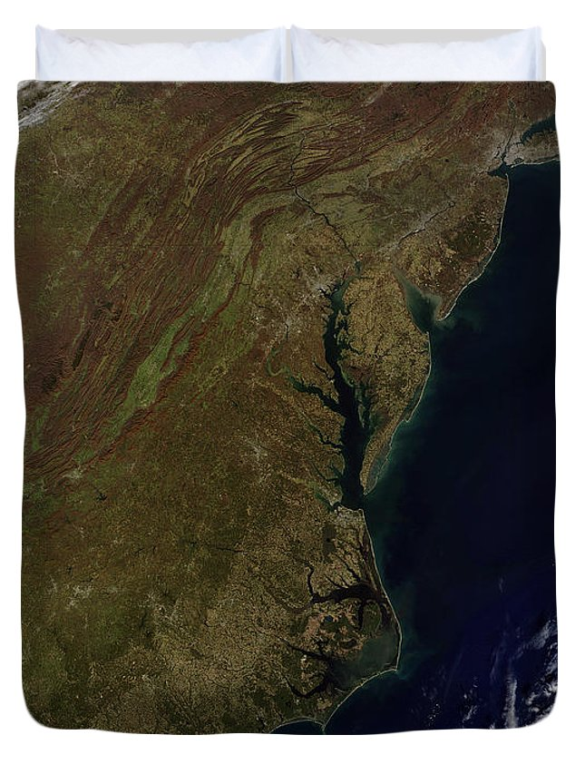 Color Image Duvet Cover featuring the photograph Satellite View Of The Mid-atlantic by Stocktrek Images