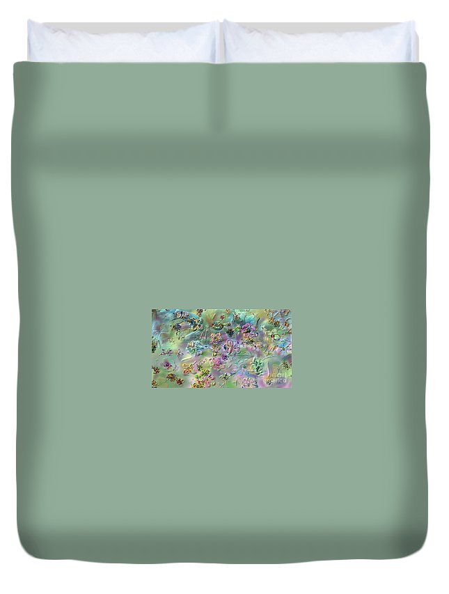 Flowers Duvet Cover featuring the digital art Satin Flowers by Claire Bull
