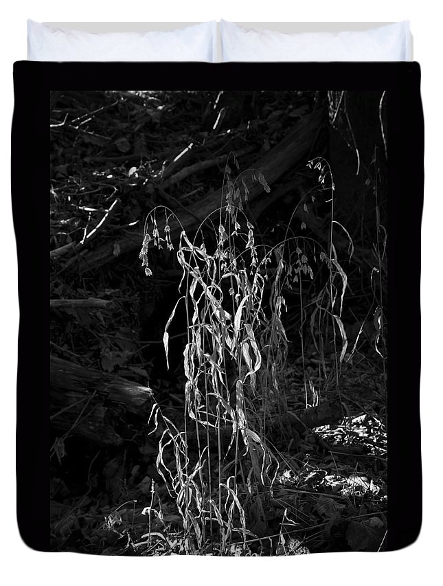 Black And White Duvet Cover featuring the photograph Saw Oats In River Flood Area by Michael Dougherty