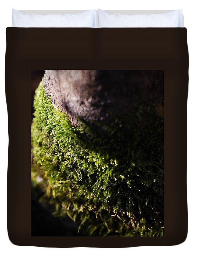 Moss Duvet Cover featuring the photograph Scarf Of Green by Susan Capuano