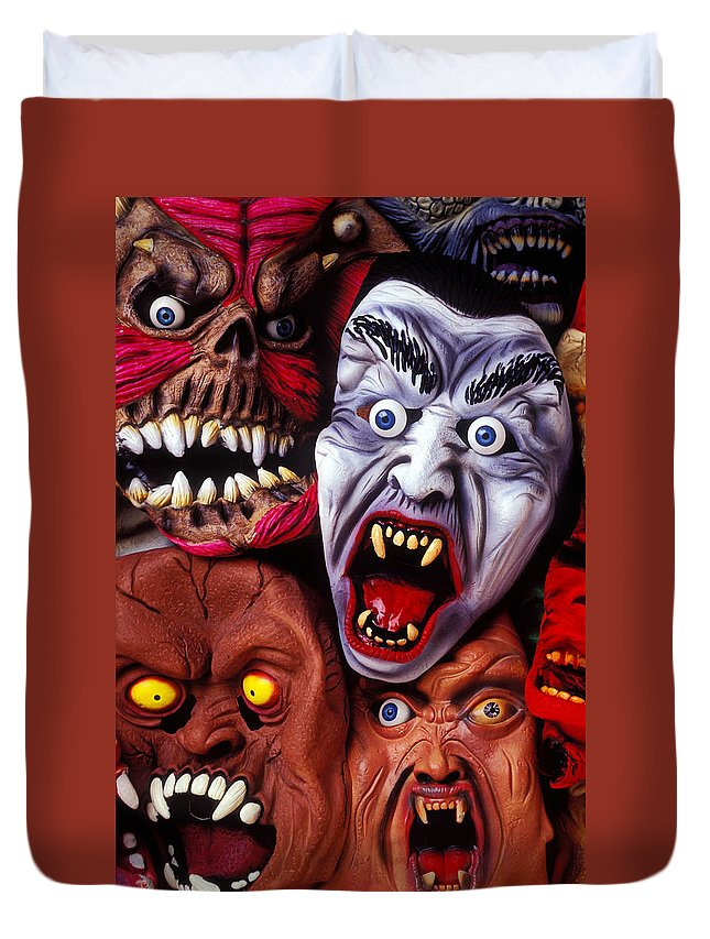 Old Duvet Cover featuring the photograph Scary Halloween Masks by Garry Gay