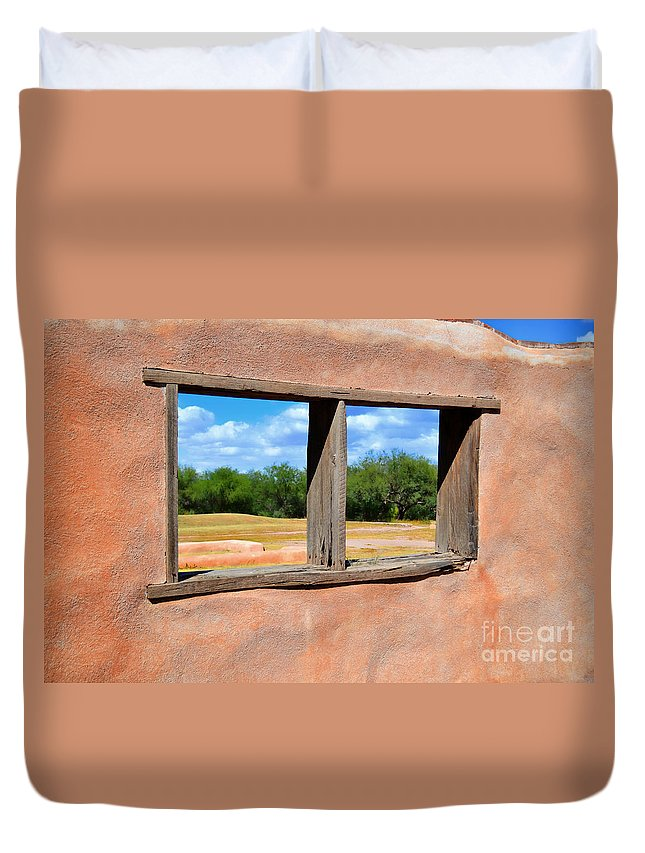 Fine Art Duvet Cover featuring the photograph Scene From A Priests Window by Donna Greene