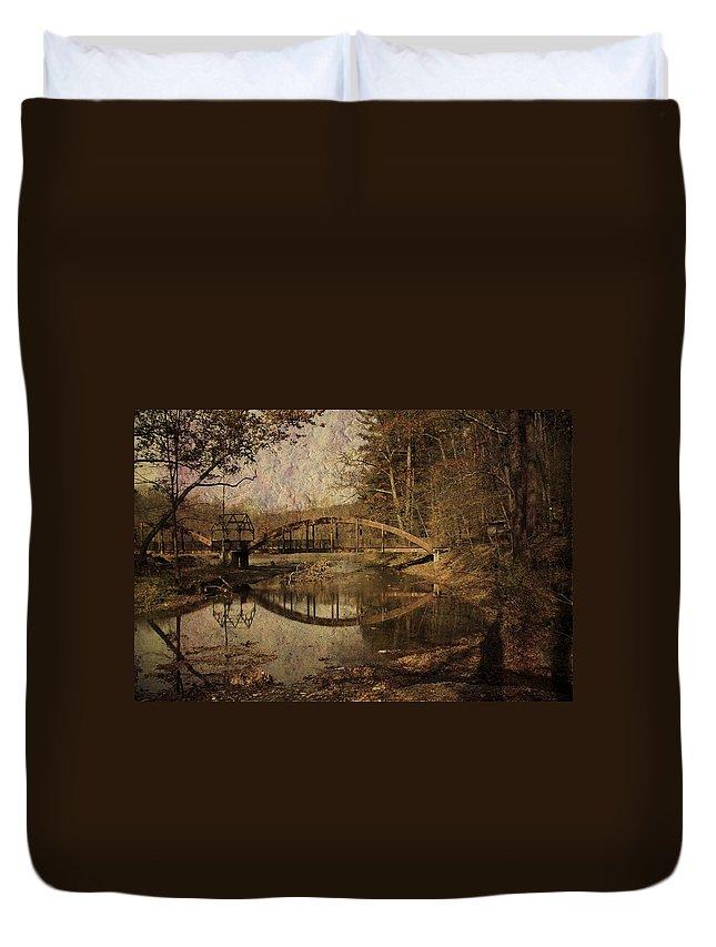 Bridge Duvet Cover featuring the photograph Schnecksville by Trish Tritz