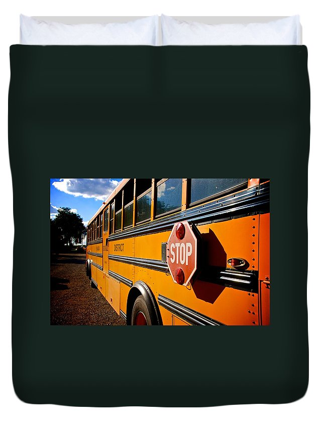School Bus Duvet Cover featuring the photograph School Bus by Eric Tressler