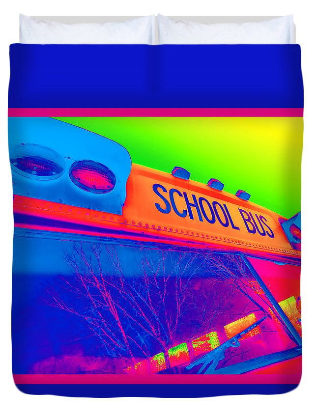 Colorful Duvet Cover featuring the photograph School Bus by Gordon Dean II