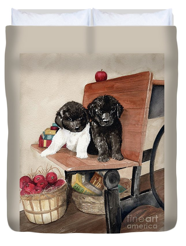Watercolor Duvet Cover featuring the painting School Days by Nancy Patterson