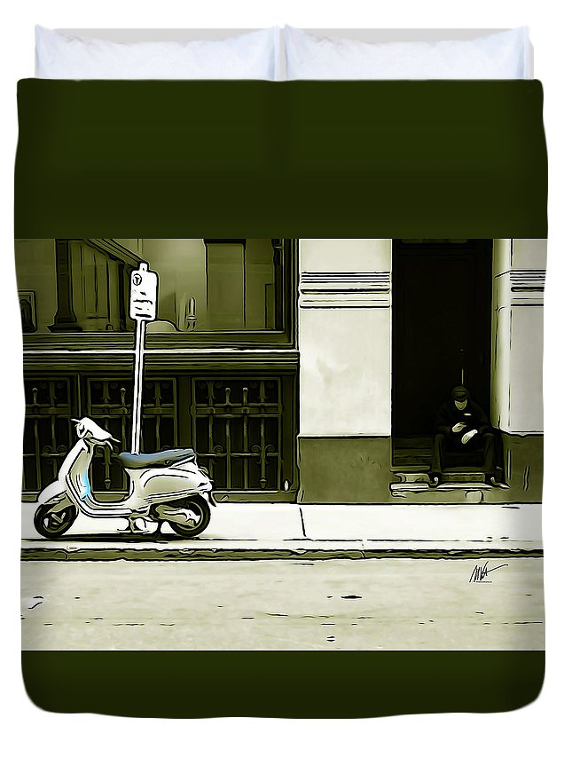 Scooter Duvet Cover featuring the photograph Scooter And Man - Illustration Conversion by Mark Valentine