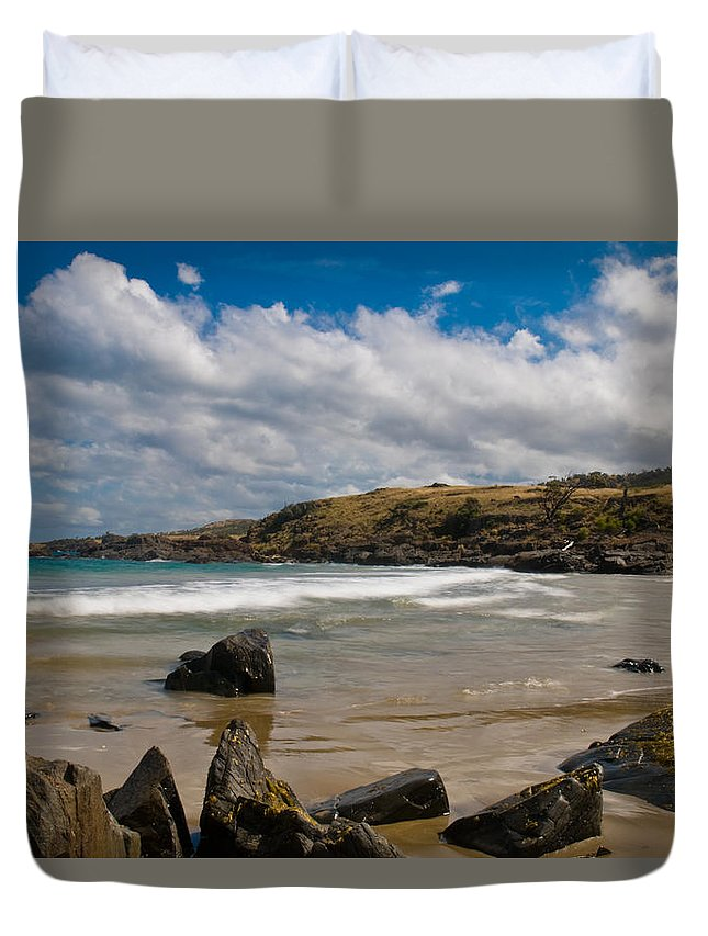 Bay Duvet Cover featuring the photograph Sea Landscape With Bay Beach by U Schade