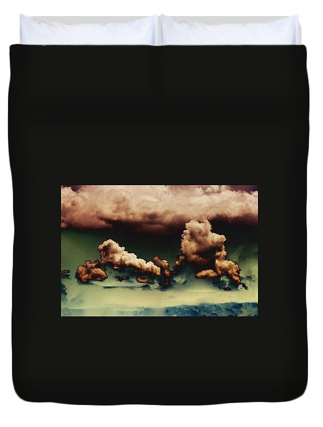 Clouds Duvet Cover featuring the photograph Sea Of Green by One Rude Dawg Orcutt