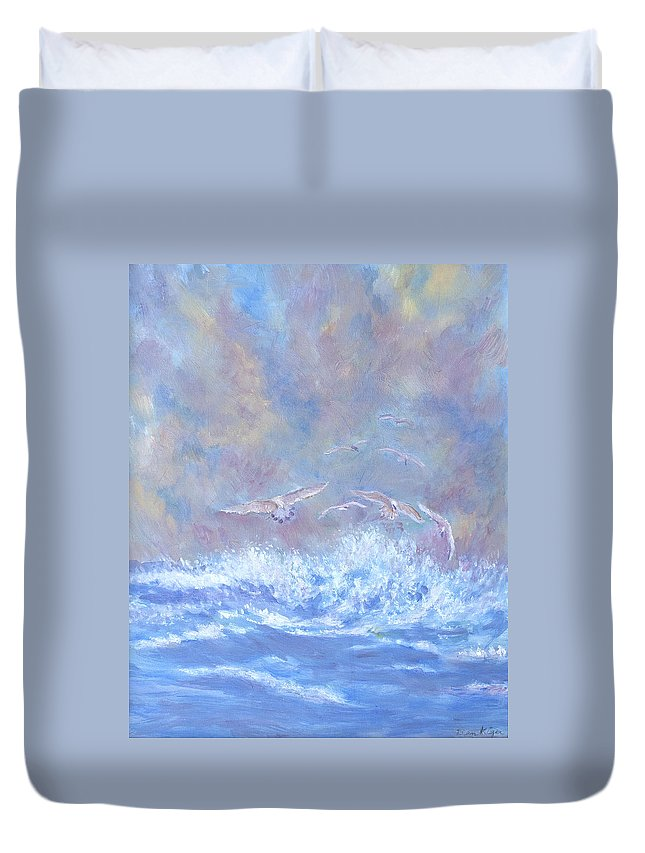 Seascape Duvet Cover featuring the painting Seagulls at Play by Ben Kiger