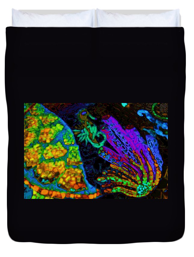 Seahorse Duvet Cover featuring the digital art Seahorse Mosaic by Stephen Anderson