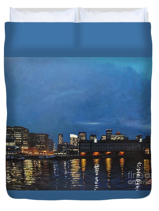 Seaport Duvet Cover featuring the painting Seaport Boulevard by Anna Starkova