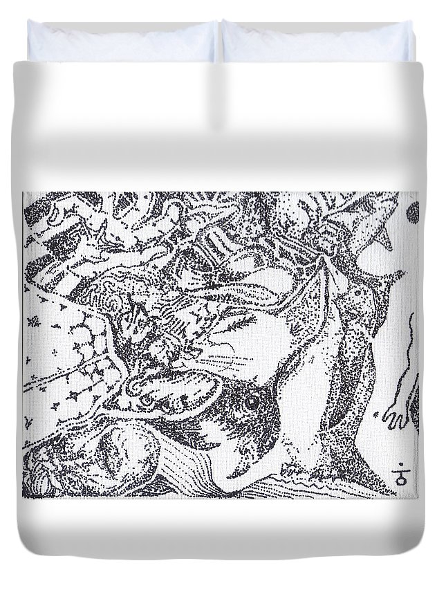 Stippling Duvet Cover featuring the painting Searchers And Swimmers by Charles Kabrich
