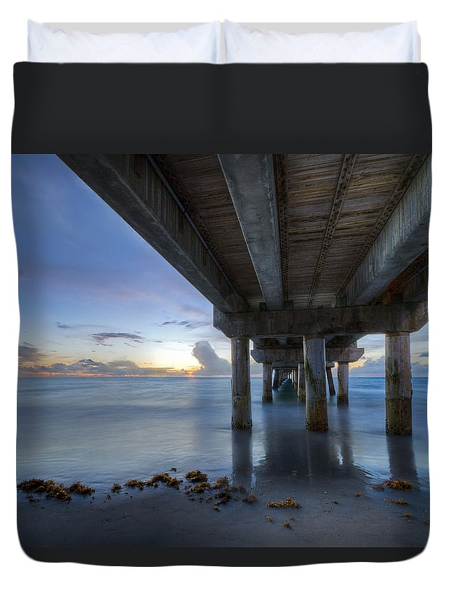 Fishing Duvet Cover featuring the photograph Seaside Serenity by Debra and Dave Vanderlaan
