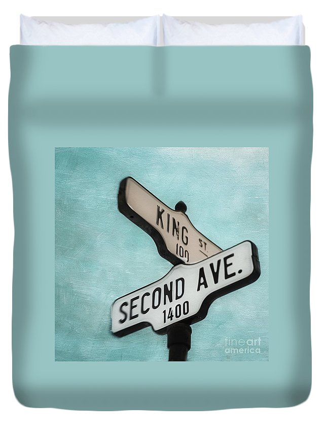 Sign Duvet Cover featuring the photograph second Avenue 1400 by Priska Wettstein