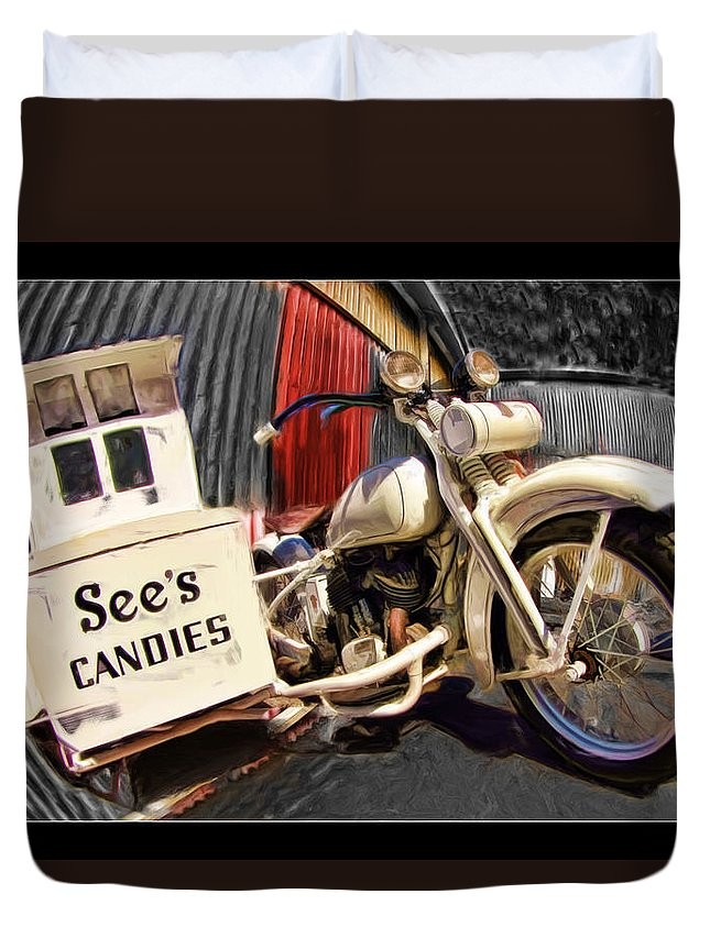 See's Duvet Cover featuring the photograph See's Motocycle by Blake Richards