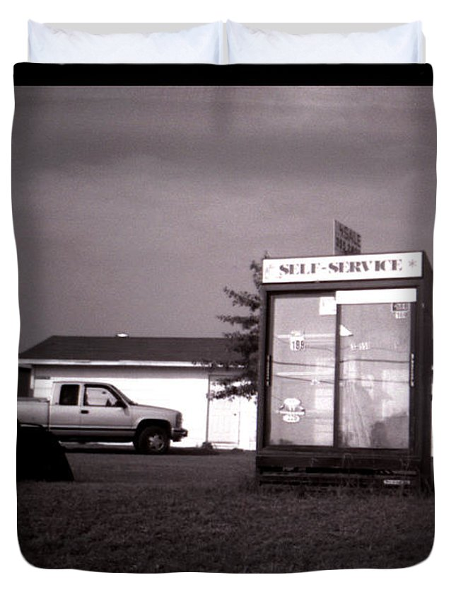 Louisiana Duvet Cover featuring the photograph Self Service- Winnsboro Road- La Hwy 15 by Doug Duffey