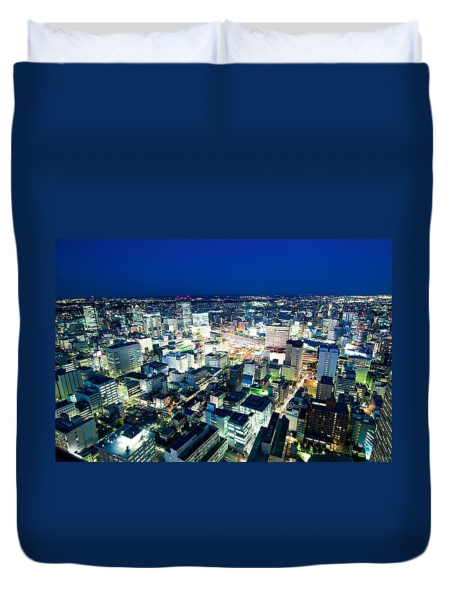Aerial Duvet Cover featuring the photograph Sendai Train Station By Night by U Schade
