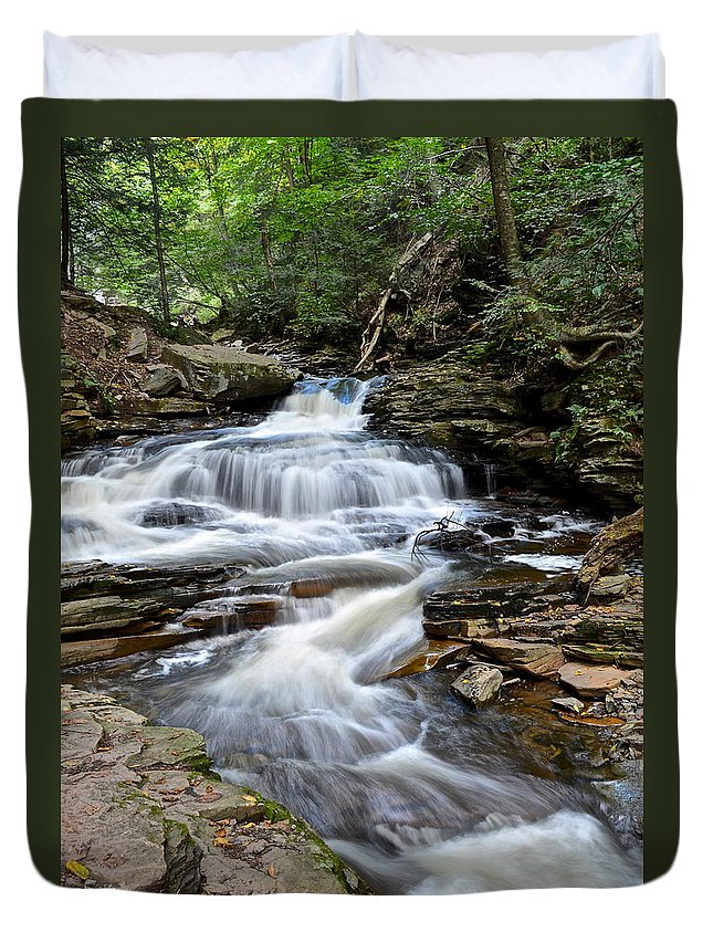 Whitewater Duvet Cover featuring the photograph Seneca Falls by Frozen in Time Fine Art Photography