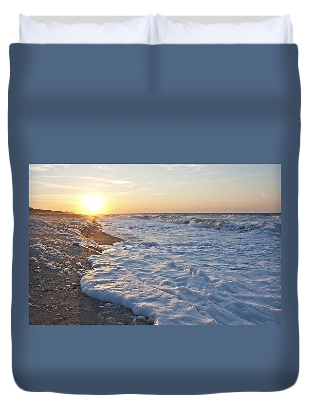 Shackleford Duvet Cover featuring the photograph Serene Sunrise by Betsy Knapp