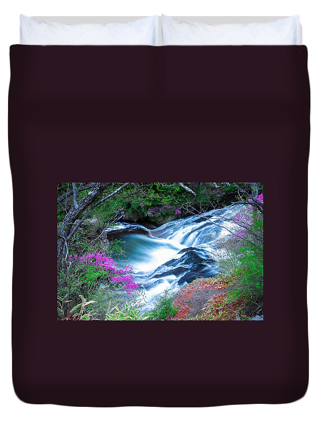 Scenic Duvet Cover featuring the photograph Serenity Flowing by Jonah Anderson