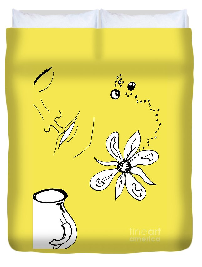 Contemplation Duvet Cover featuring the mixed media Serenity In Yellow by Mary Mikawoz