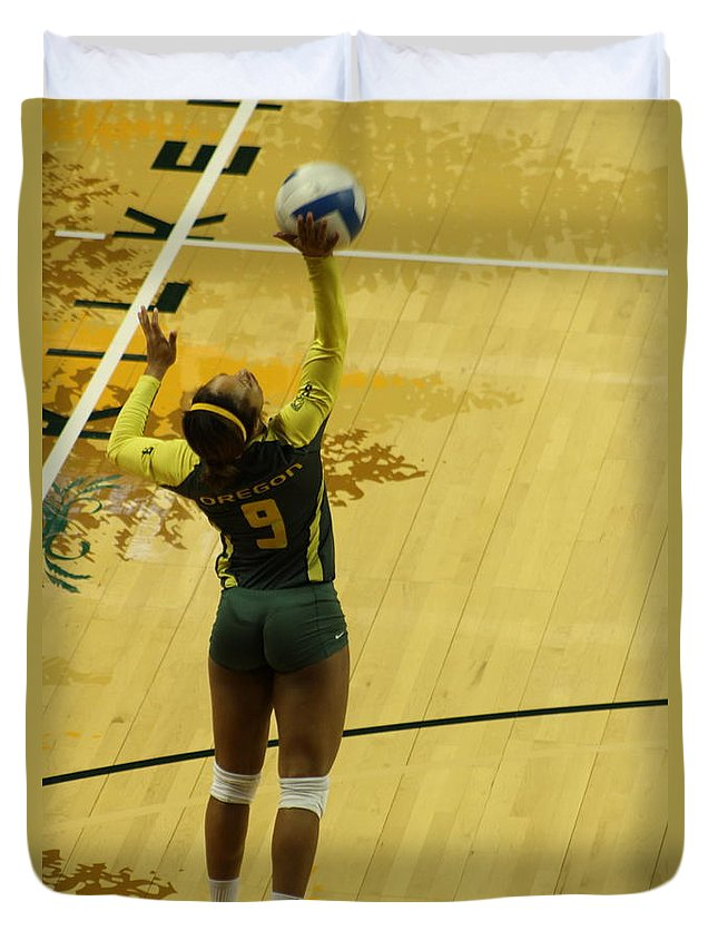 Volleyball Duvet Cover featuring the photograph Serving The Match by Laddie Halupa