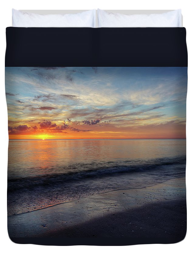 Sunset Duvet Cover featuring the photograph Setting Colors by Nick Shirghio