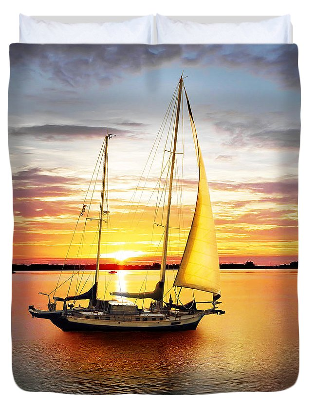 Sun Duvet Cover featuring the photograph Setting Sail by Francesa Miller