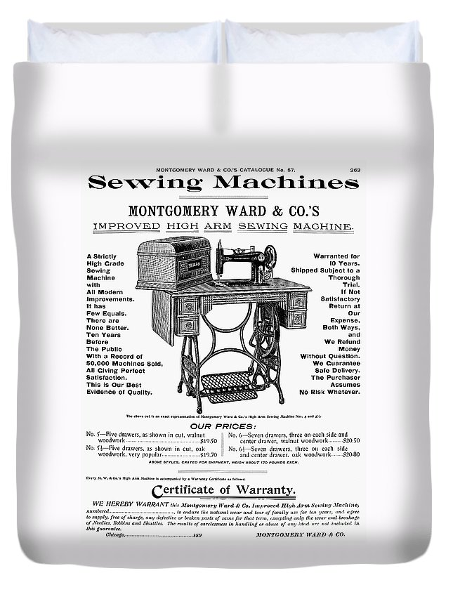 1895 Duvet Cover featuring the photograph Sewing Machine Ad, 1895 by Granger