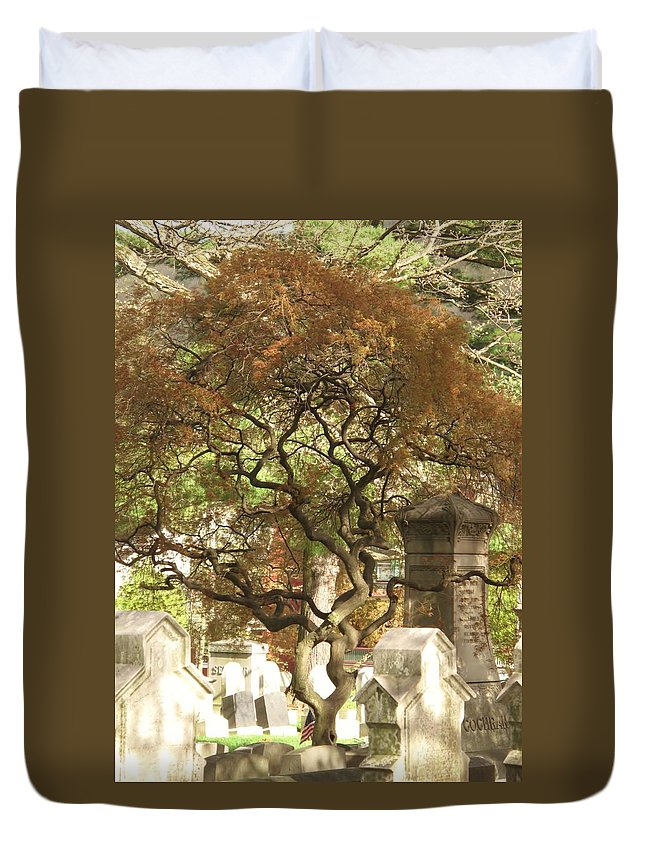Graveyard Duvet Cover featuring the photograph Shade For The Weary by Michele Nelson