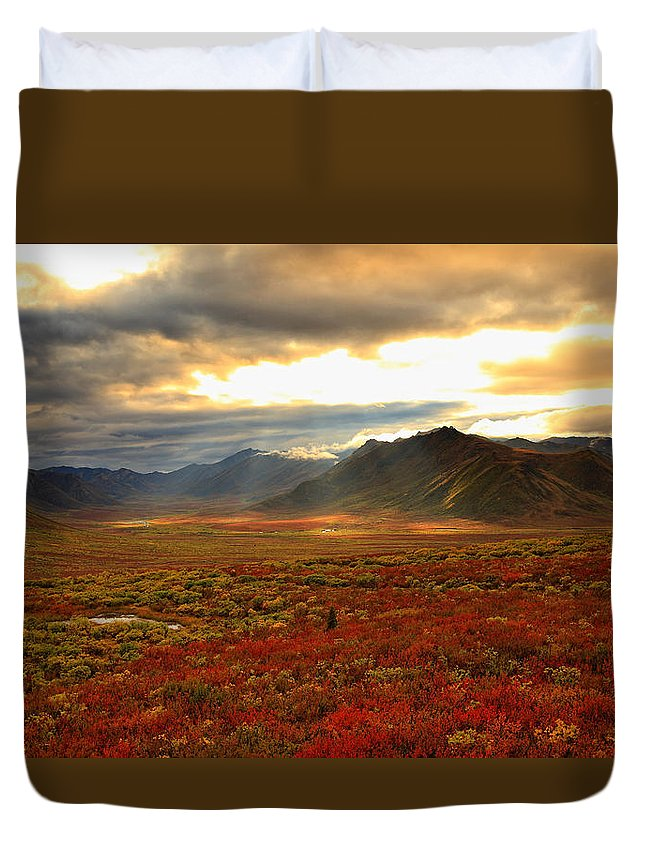 Light Duvet Cover featuring the photograph Shaft Of Sunlight Hitting The Fall by Robert Postma