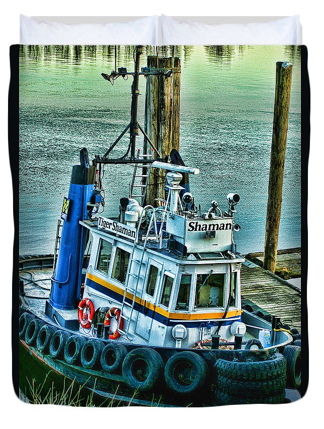 Boats Duvet Cover featuring the photograph Shaman Tug-hdr by Randy Harris