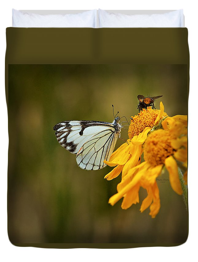 Butterfly Duvet Cover featuring the photograph Sharing by Phyllis Denton