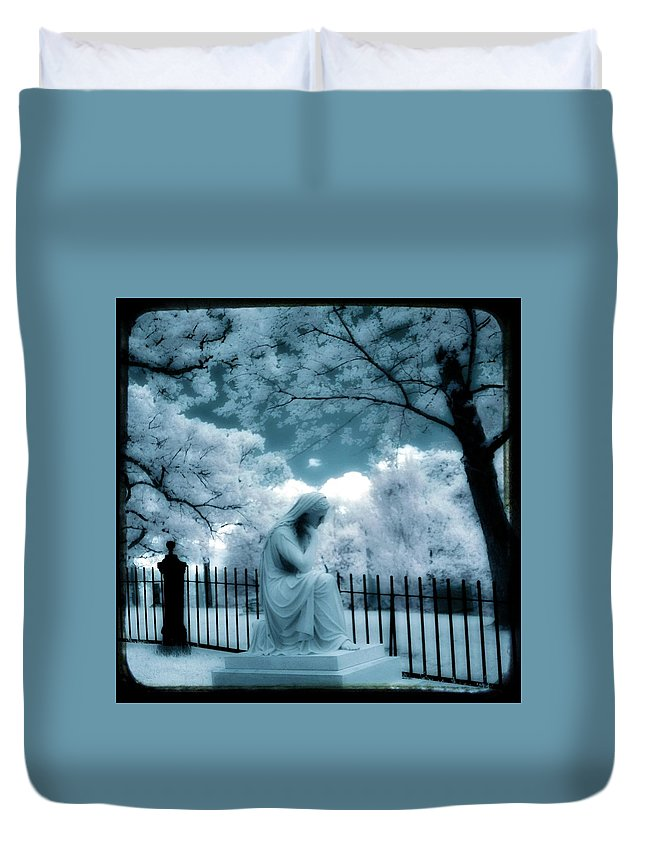 Aqua Blue Duvet Cover featuring the photograph She Dreams In Blue by Gothicrow Images