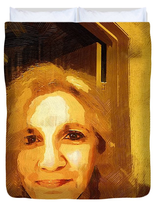 Contemporary Duvet Cover featuring the painting She Smiles Sweetly by RC DeWinter