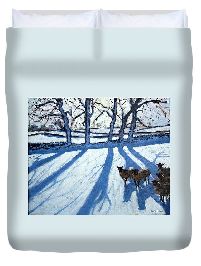 English Landscape Duvet Cover featuring the painting Sheep In Snow by Andrew Macara