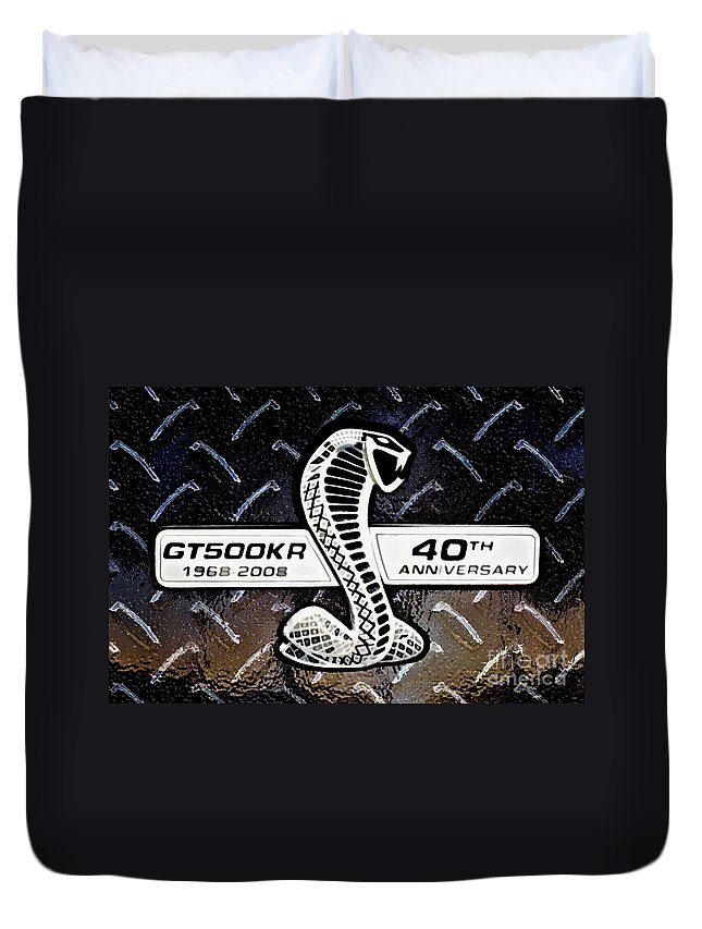Ford Duvet Cover featuring the digital art Shelby Logo by Tommy Anderson