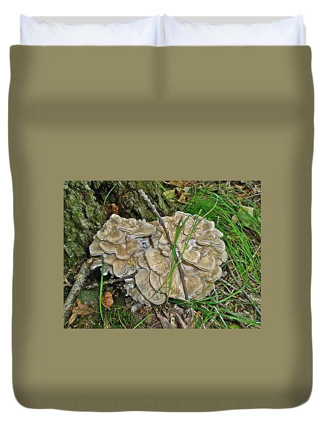 Fungus Duvet Cover featuring the photograph Shelf Fungus - Grifola Frondosa by Mother Nature