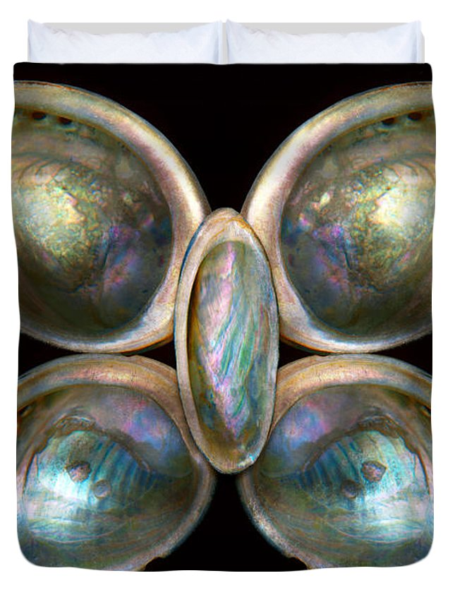 Butterfly Duvet Cover featuring the photograph Shell - Conchology - Devine Pearlescence by Mike Savad