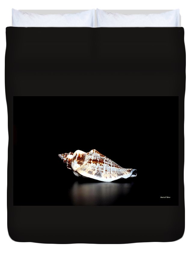 Shell On Leather 2 Duvet Cover featuring the photograph Shell On Leather 2 by Maria Urso