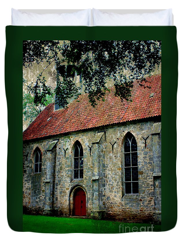 Church Duvet Cover featuring the photograph Shelter From The Storm by Carol Groenen
