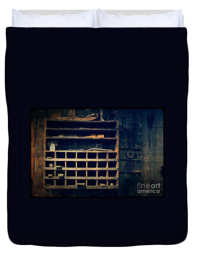 Shelves In The Cedar Creek Mill Duvet Cover featuring the photograph Shelves In The Cedar Creek Mill by Mary Machare