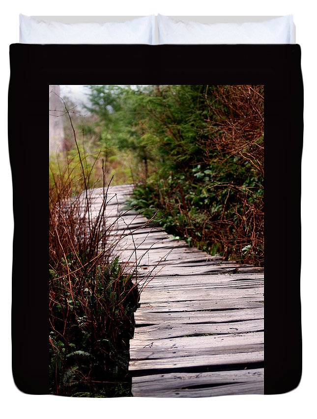 Trails Duvet Cover featuring the photograph Shi Shi Boardwalk by Marie Jamieson