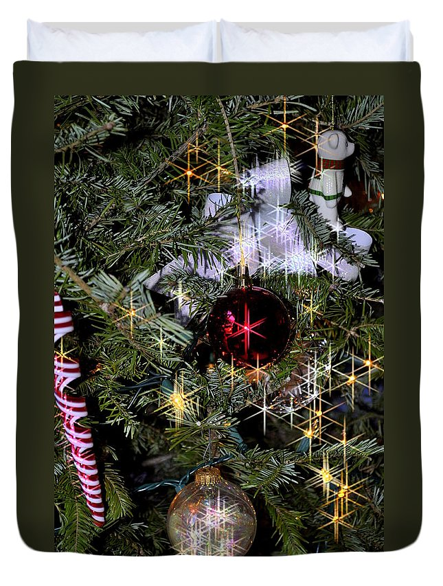 Christmas Duvet Cover featuring the photograph Shining Lights by Caroline Stella
