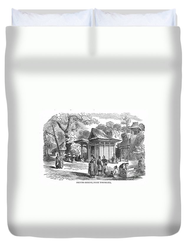 19th Century Duvet Cover featuring the photograph Shinto Shrine, 19th Century by Granger
