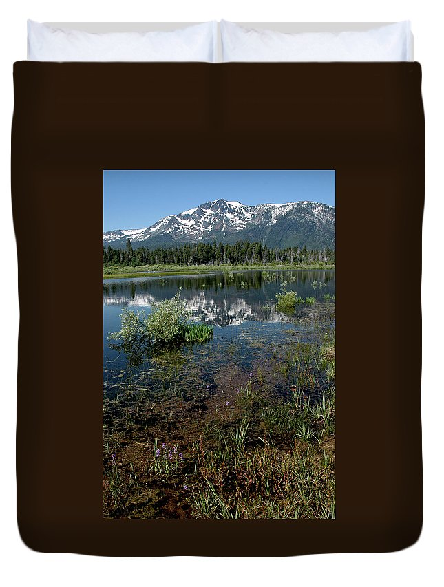 Usa Duvet Cover featuring the photograph Shore Reflections Of Mt Tallac by LeeAnn McLaneGoetz McLaneGoetzStudioLLCcom